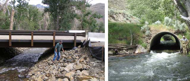 A free-span bridge, above, allows Iron Creek to flow freely after an old culvert, right, was eliminated as part of the Iron Creek fish restoration project.