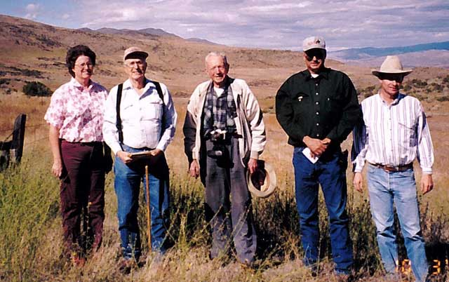 "Gus Hormay, center, worked with the Little family to set up photo-monitoring points on their ranch as part of a rest-rotation grazing system. From left, Judy Hinman, David Little, Hormay, Jim Little and Brad Little. ""It is a gift to the future,"" Jim Little says."