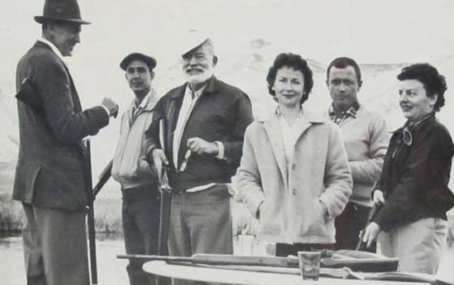 Hemingway brought a number of Hollywood celebrities to go trap shooting or duck hunting on Silver Creek with Bud, including Gary Cooper, left