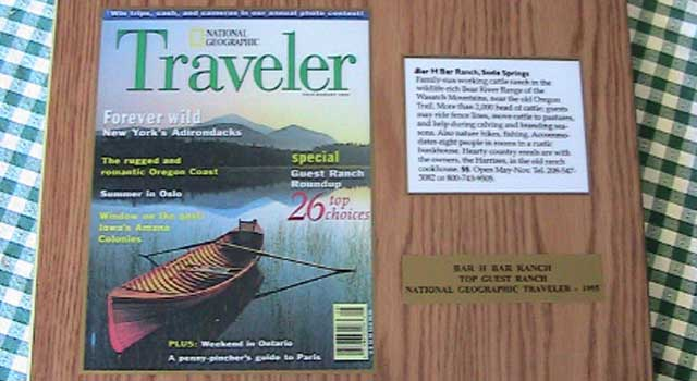 National Geographic Traveler included the Bar H Bar Ranch as one of the top guest ranches in the 1990s, great advertising that helped fill their bunkhouse for years to come