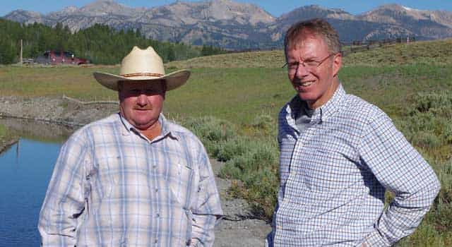 Rancher Mike Henslee, left, with Mark Moulton