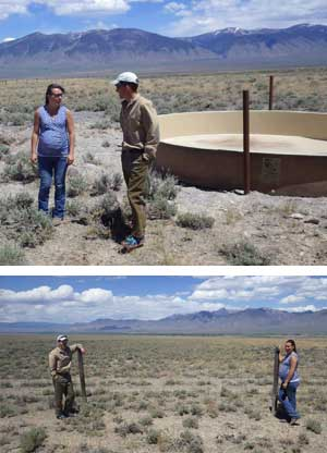 Top, Rosana Rieth of NRCS and Rancher Tom Page check out a new stock-water tank and well that Page developed on his Grouse Creek property to keep cattle on the uplands and away from the Pahsimeroi River during the fall salmon spawning season. Above, Page and Rieth frame an old sheep fence that Page is tearing out to remove barriers for cattle and wildlife adja-cent to a BLM grazing allotment.