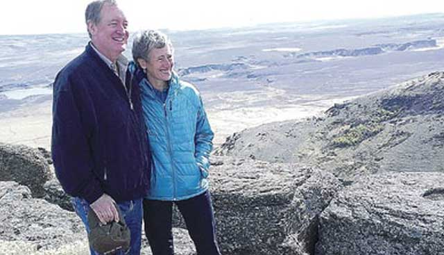 Secretary Jewell's visit to the Murphy Complex fire zone helped inspire the new fire preven-tion policy. Here she poses on Brown's Bench with U.S. Senator Mike Crapo, R-Idaho.