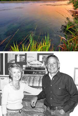 Sharon and Nick Purdy at the Silver Creek store in Picabo. Above, Silver Creek at sunset. Silver Creek is an integral part of the ranch and the Purdy's life. (Courtesy The Nature Conservancy