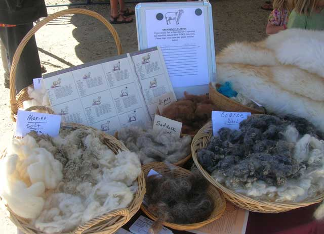 Spinners displayed the variety of wool available for making garments.