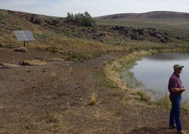The Bear Creek pond is fenced-off from cattle to protect water quality and wildlife habitat. Solar power provides the energy for water pumps to convey water via pipelines to cattle troughs.