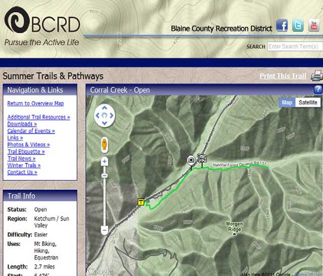 The Blaine County Recreation District has a new trails web site that includes information about where recreationists may encounter sheep and guard dogs in various trail locations during the summer. See http://trails. bcrd.org