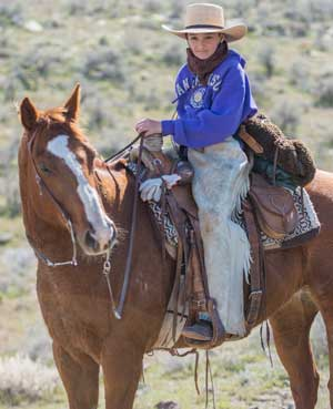 The Jaca's grandkids participated in the cattle drive. This is Josune Jaca on a horse named Joe.