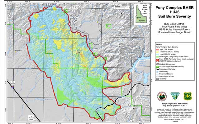 The soil burn severity in the Pony Complex fire on BLM and Forest Service land was primarily low to moderate, and on the Elk Complex fire, the soil burn severity was more severe on Forest Service lands.