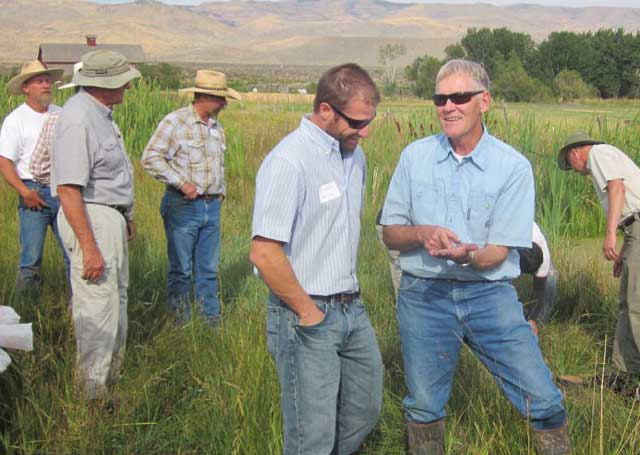 Wetlands workshop participants included Owyhee County ranchers, Art Talsma of the Nature Conservancy and Dustin Miller, administrator of the Governor's Office of Species Conservation. Below, a Columbia spotted frog.