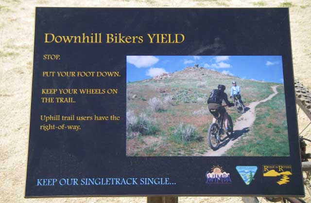 Trailside trail etiquette signs help educate trail users about the importance of ensuring that everyone's recreational outing is a good one