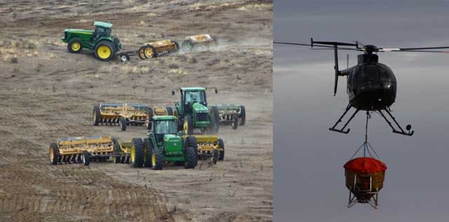 "Above, BLM John Deere tractors pull drill-seeding implements in ""triples"" to cover as much as 100 acres in one day. Right, choppers drop seed mixes onto the fire zone to jump start nature's recovery."