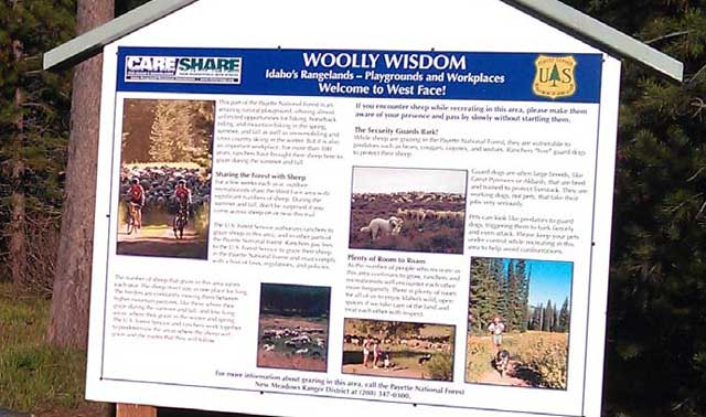 Care & Share signage gives recreationists tips on how to act around guard dogs and domestic sheep herds in the Payette National Forest near McCall.